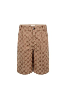 Boys Beige GG Canvas Bermuda Shorts