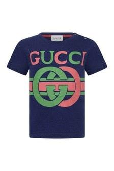 GUCCI Kids Baby Navy Cotton GG T-Shirt