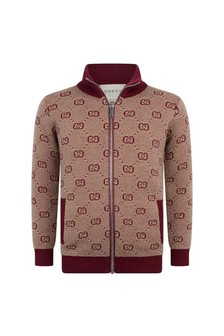 Kids Burgundy Wool Blend Zip Up Cardigan