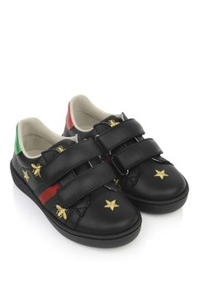 Black Leather Bee & Star Trainers