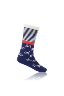 GUCCI Kids Navy Cotton GG Socks