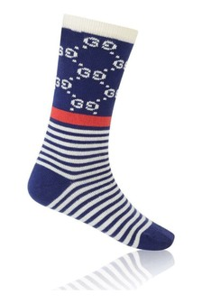 GUCCI Kids Navy GG Socks