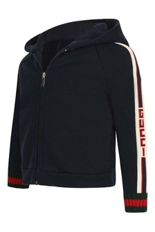 GUCCI Kids Baby Boys Navy Cotton Zip Up Top