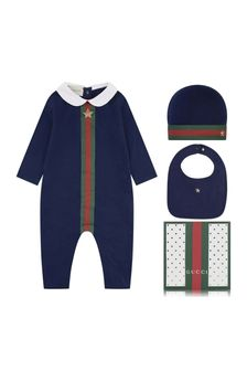 GUCCI Kids Boys Navy Romper Gift Set (3 Piece)