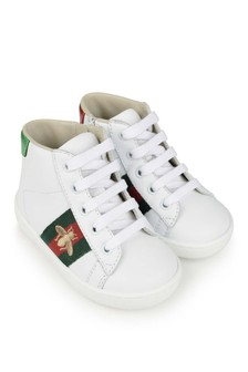 White Leather Velcro Trainers With Stripe