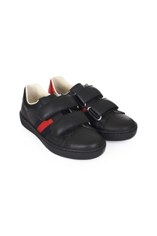 Black Leather Velcro Strap Trainers