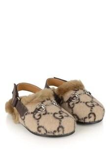 GUCCI Kids Beige GG Faux Fur Slingback Mules