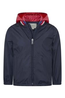 Boys Navy Lightweight Jacket With Hood
