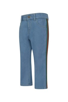 GUCCI Kids Boys Blue Jeans With Web Belt