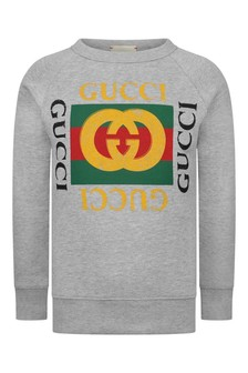Boys Grey Logo Print Sweater
