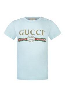 GUCCI Kids Light Blue Logo Print Baby Top