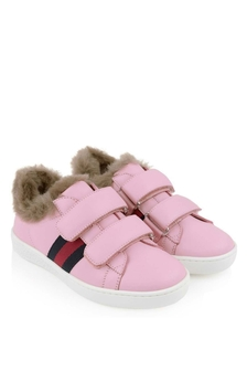 Pink Leather Trainers With Faux Fur