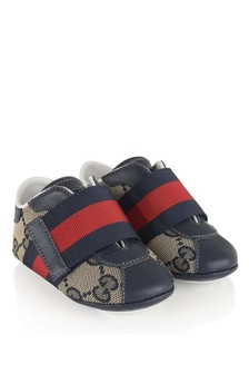 GUCCI Kids Baby Navy GG Velcro Strap Pre Walker Shoes