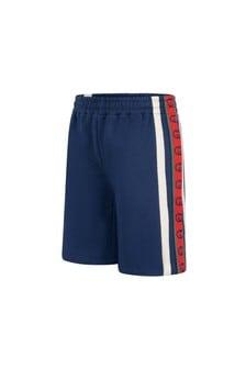 GUCCI Kids Boys Blue Cotton Jersey Shorts