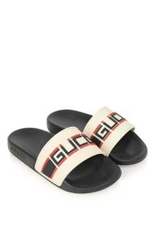 Boys Ivory/Black Rubber Stripe Sliders