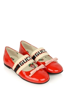 Girls Red Patent Leather Ballerina Shoes