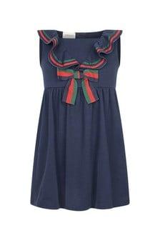 Navy Cotton Pique Dress
