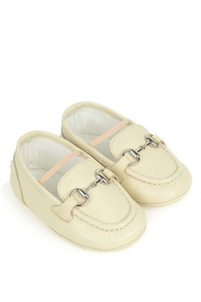 Ivory Leather Pre-Walker Moccasins