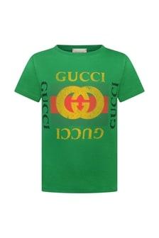 Green Logo Print Cotton Top
