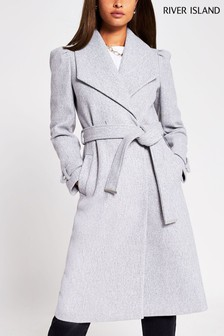 River Island Grey Puff Sleeve Belted Robe