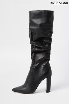 River Island Black Slouch High Leg Boots