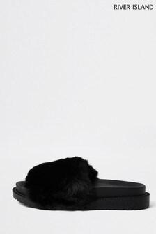 River Island Black Artificial Fur Sliders