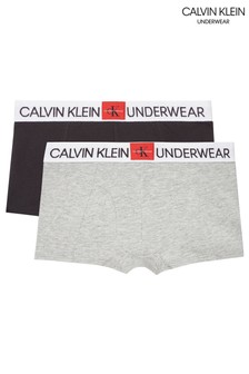 Calvin Klein Grey Minigram Trunks Two Pack