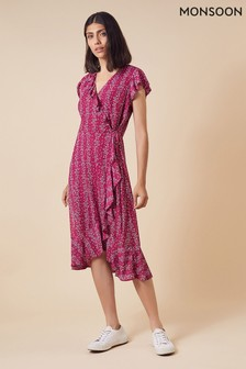 Monsoon Pink Fergie Ruffle Wrap Mesh Midi Dress
