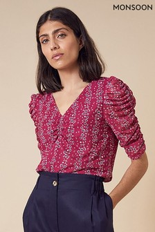 Monsoon Pink Fergie Rouch Sleeve Mesh V-Neck Top
