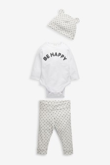 Organic Cotton Slogan Bodysuit, Leggings And Hat Set (0-18mths)