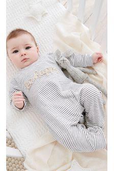 Cotton Stripe Slogan Romper (0mths-2yrs)