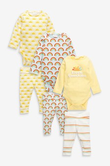6 Pack Organic Cotton Rainbow Bodysuit And Leggings Set (0mths-2yrs)