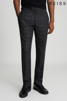 Reiss Charcoal Balsa Checked Tailored Trousers