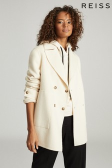 Reiss Cream Amber Blend Seam Double Breasted Coat