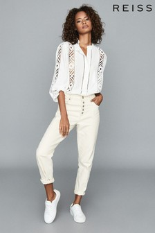 Reiss Ivory Aliyah Lace Detail Blouse