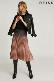 Reiss Black/Pink Marlene Ombre Pleated Midi Skirt