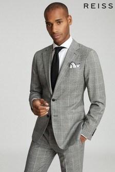 Reiss Grey Hall Checked Slim Fit Blazer