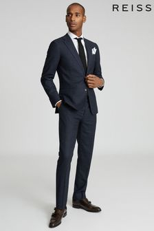 Reiss Navy Dunn Textured Slim Fit Blazer