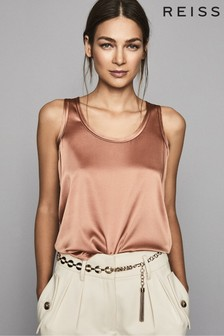 Reiss Mocha Remey Silk Front Vest