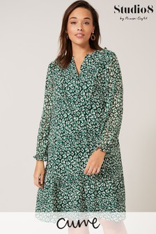 Studio 8 Green Sawyer Leopard Swing Dress