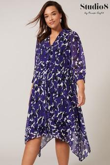 Studio 8 Purple Cecilia Asymmetric Shirt Dress