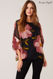 Phase Eight Blue Anemone Silk Blouse