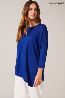 Phase Eight Blue Angelica Asymmetric Knit Top