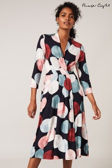 Phase Eight Blue Piper Spot Print Dress