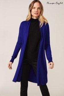Phase Eight Blue Lili Longline Cardigan