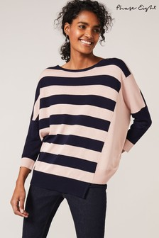 Phase Eight Blue Farla Cutabout Stripe Knit Top