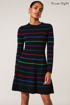 Phase Eight Black Tyler Stripe Knit Dress