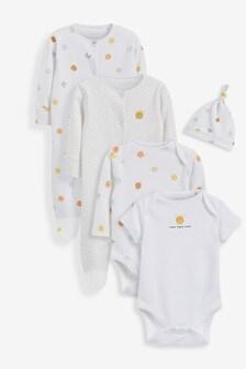 5 Piece Sleepsuits, Bodysuits & Hat Set (0-6mths)