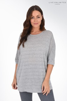 Live Unlimited Curve Silver Lurex® Stripe Batwing Top