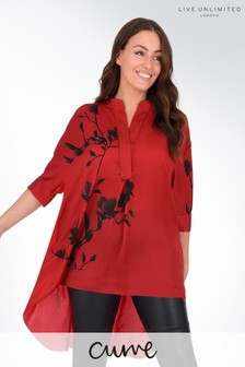 Live Unlimited Curve Red Floral Placement Shirt